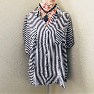 Tops - Blue Striped Button Front Top